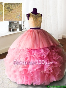 Dazzling Scoop Sleeveless With Train Beading and Lace and Ruffles Zipper Quince Ball Gowns with Rose Pink Brush Train