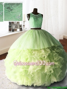 Custom Designed Yellow Green Ball Gowns Organza and Tulle and Lace Scoop Sleeveless Beading and Lace and Ruffles With Train Zipper 15 Quinceanera Dress Brush Train