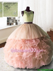 Baby Pink Organza and Tulle and Lace Zipper Scoop Sleeveless With Train Quinceanera Gowns Brush Train Beading and Lace and Ruffles