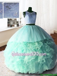 Glittering Scoop With Train Zipper Quinceanera Dresses Apple Green and In forMilitary Ball and Sweet 16 and Quinceanera withBeading and Lace and Ruffles Brush Train