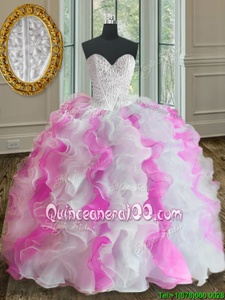 Noble Floor Length Ball Gowns Sleeveless White and Pink Quinceanera Dresses Lace Up