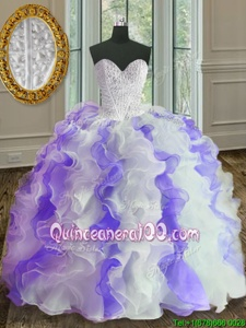 Pretty Sweetheart Sleeveless Organza Vestidos de Quinceanera Beading and Ruffles Lace Up