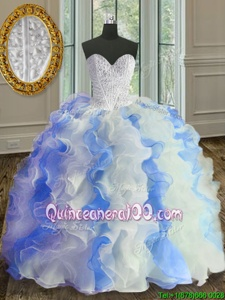 Super White and Blue Ball Gowns Sweetheart Sleeveless Organza Floor Length Lace Up Beading and Ruffles 15th Birthday Dress