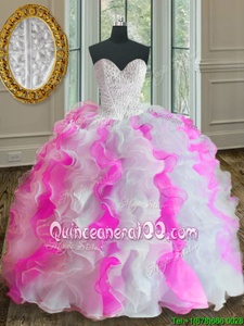 Fashion Organza Sweetheart Sleeveless Lace Up Beading and Ruffles Sweet 16 Quinceanera Dress inPink And White