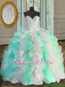 Nice White and Green Sleeveless Organza Lace Up Sweet 16 Quinceanera Dress forMilitary Ball and Sweet 16 and Quinceanera