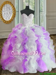 Traditional White And Purple Sweet 16 Dress Military Ball and Sweet 16 and Quinceanera and For withBeading and Ruffles Sweetheart Sleeveless Lace Up