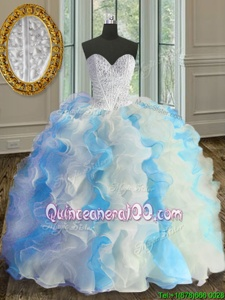 Nice Blue And White Sleeveless Beading and Ruffles Floor Length Quinceanera Gowns