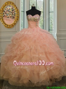 Chic Floor Length Lace Up Sweet 16 Dresses Peach and In forMilitary Ball and Sweet 16 and Quinceanera withBeading and Ruffles