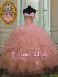 Exceptional Floor Length Lace Up Vestidos de Quinceanera Watermelon Red and In forMilitary Ball and Sweet 16 and Quinceanera withBeading and Ruffles