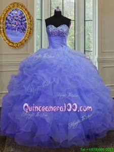 Pretty Purple Sleeveless Beading and Ruffles Floor Length Vestidos de Quinceanera