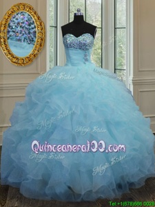 Edgy Baby Blue Quinceanera Gowns Military Ball and Sweet 16 and Quinceanera and For withBeading and Ruffles Sweetheart Sleeveless Lace Up