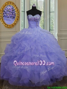 Wonderful Lavender Organza Lace Up Sweetheart Sleeveless Floor Length Sweet 16 Quinceanera Dress Beading and Ruffles