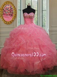 High End Ball Gowns Vestidos de Quinceanera Rose Pink Sweetheart Organza Sleeveless Floor Length Lace Up