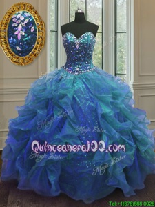 Simple Blue Ball Gowns Organza and Sequined Sweetheart Sleeveless Beading and Ruffles Floor Length Lace Up Vestidos de Quinceanera
