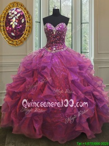 Glittering Beading and Ruffles 15th Birthday Dress Purple Lace Up Sleeveless Floor Length