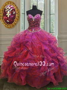 High Class Multi-color Sleeveless Organza and Sequined Lace Up Vestidos de Quinceanera forMilitary Ball and Sweet 16 and Quinceanera
