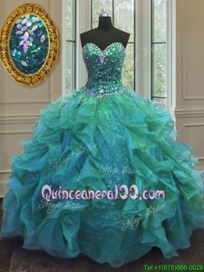 High Quality Floor Length Ball Gowns Sleeveless Turquoise Quinceanera Gowns Lace Up