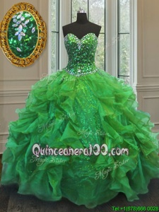 Great Sleeveless Floor Length Beading and Ruffles Lace Up Quinceanera Dresses with Spring Green