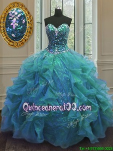 Decent Blue Organza Lace Up 15 Quinceanera Dress Sleeveless Floor Length Beading and Ruffles