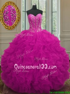 Clearance Fuchsia Sleeveless Beading and Ruffles Floor Length Sweet 16 Dress