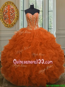 High Class Orange Red Organza Lace Up Ball Gown Prom Dress Sleeveless Floor Length Beading and Ruffles