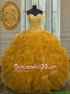 Enchanting Floor Length Ball Gowns Sleeveless Yellow Sweet 16 Quinceanera Dress Lace Up