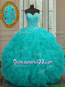 Lovely Aqua Blue Sleeveless Floor Length Beading and Ruffles Lace Up Sweet 16 Quinceanera Dress