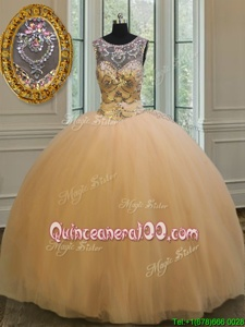 Stylish Backless Scoop Sleeveless Quinceanera Dresses Floor Length Beading and Appliques Gold Tulle
