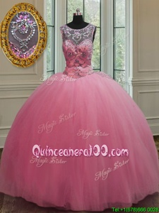 Latest Scoop Rose Pink Sleeveless Tulle Lace Up Quinceanera Gown forMilitary Ball and Sweet 16 and Quinceanera