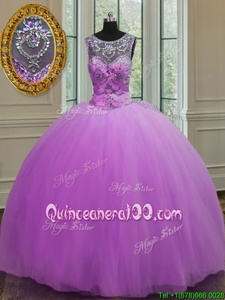 Cute Halter Top Purple Ball Gowns Beading Sweet 16 Dress Lace Up Tulle Sleeveless Floor Length