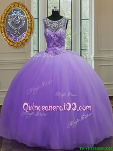 Smart Scoop Sleeveless Tulle Quinceanera Dress Beading Lace Up