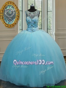 Scoop Sleeveless Lace Up 15th Birthday Dress Baby Blue Tulle