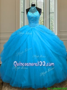 Nice Baby Blue Sleeveless Floor Length Beading Lace Up Quince Ball Gowns