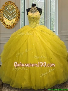 Suitable Halter Top Yellow Green Ball Gowns Beading Quinceanera Dresses Lace Up Tulle Sleeveless Floor Length