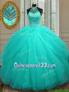 Custom Designed Aqua Blue Ball Gowns Tulle Halter Top Sleeveless Beading Floor Length Lace Up Sweet 16 Dresses