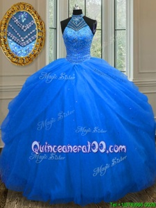 Romantic Halter Top Royal Blue Tulle Lace Up Ball Gown Prom Dress Sleeveless Floor Length Beading