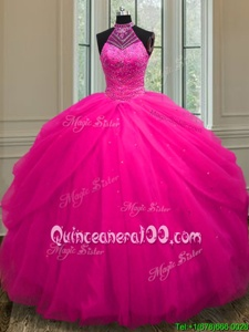 Wonderful Hot Pink Ball Gowns Halter Top Sleeveless Tulle Floor Length Lace Up Beading and Sequins Quinceanera Dresses