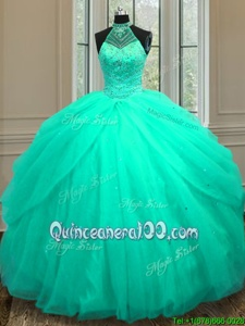 Discount Turquoise Tulle Lace Up Halter Top Sleeveless Floor Length Quinceanera Gowns Beading and Sequins