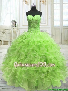 Fantastic Sleeveless Organza Floor Length Lace Up Quinceanera Dress inYellow Green forSpring and Summer and Fall and Winter withBeading and Ruffles