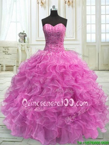 Superior Lilac Sweetheart Neckline Beading and Ruffles 15th Birthday Dress Sleeveless Lace Up