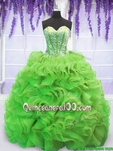 Cheap Spring Green Lace Up Sweetheart Beading and Ruffles 15 Quinceanera Dress Organza Sleeveless Sweep Train