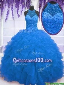 Discount Floor Length Zipper Sweet 16 Dress Blue and In forMilitary Ball and Sweet 16 and Quinceanera withBeading and Ruffles