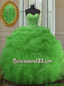 Beauteous Pick Ups Floor Length Ball Gowns Sleeveless Green Quinceanera Dresses Lace Up