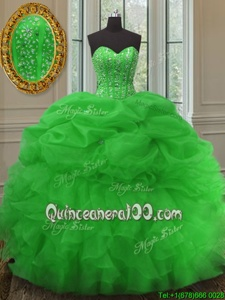 Shining Green 15th Birthday Dress Military Ball and Sweet 16 and Quinceanera and For withBeading and Ruffles and Pick Ups Sweetheart Sleeveless Lace Up