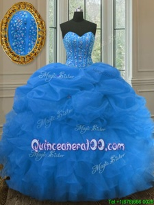 Decent Pick Ups Blue Sleeveless Organza Lace Up Quinceanera Dresses forMilitary Ball and Sweet 16 and Quinceanera