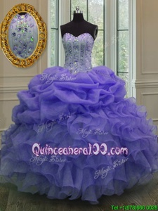 Smart Lavender Lace Up Sweetheart Beading and Ruffles and Pick Ups Ball Gown Prom Dress Organza Sleeveless