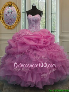Popular Sweetheart Sleeveless Organza Ball Gown Prom Dress Beading and Ruffles and Pick Ups Lace Up