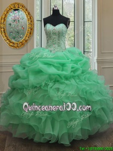 Sophisticated Apple Green Organza Lace Up Strapless Sleeveless Floor Length Ball Gown Prom Dress Beading and Ruffles and Pick Ups