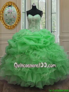 Popular Spring Green Lace Up Sweetheart Beading and Pick Ups Sweet 16 Dresses Organza Sleeveless