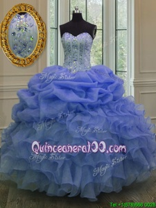 Fashionable Blue Sweetheart Neckline Beading and Pick Ups Quinceanera Dresses Sleeveless Lace Up